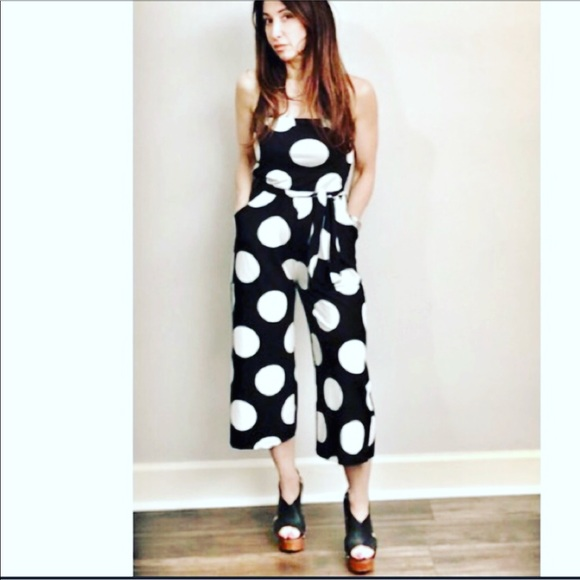 3da8efd9d89 White with black polka dot jumpsuit